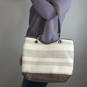 Thirty-One Taupe Straw Stripe Canvas Crew Mini Bag